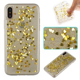 Wholesale Iphone Skin Shiny - Crystal Shiny Sparkling Heart Glitter Cell Phone Cases Soft TPU Skin for iphone X 7 plus 8 plus 6s plus 5s SE