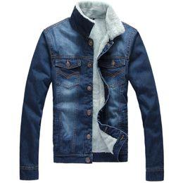Wholesale Men Cashmere Fur Coats - Men Autumn Winter Denim Jacket Fur Collar Cashmere Coat Outdoor Outwear Overcoat Brand Clothes Promotions 2016