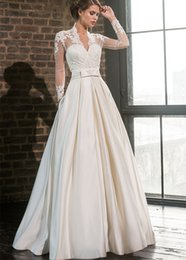 Wholesale Modest Jacket Dresses Cheap - Modest A-Line Satin Appliques Wedding Dresses With Jacket 2017 Long Sleeve Wedding Gowns With V-Neck Lace-up Back Cheap Country Bridal Dress