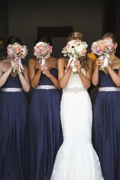 Wholesale Dark Blue Crystal Wedding Belt - 2016 Sexy Long Navy Blue Chiffon Bridesmaid Dresses with Crystal Belt Cheap Floor Length Wedding Guest Party Dress Formal Evening Gowns