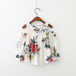 Wholesale Flower Print Tops - 2017 Autumn Floral Girls Dress Flower Printed Ruffle Off Shoulder Kids Princess Dress Sweet Korean Children Tops C1895