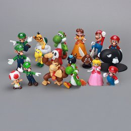 Wholesale Toad Doll - 18Pcs Set Super Mario Bros Figures Yoshi Figure Dinosaur Toy Super Mario Yoshi Donkey Kong Toad Action Figures PVC Doll For Kid Gift