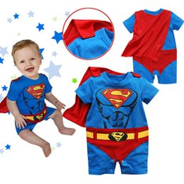 Wholesale Baby Spiderman Costumes - Classic Trendy Spiderman Batman Superman Costumes Christmas Halloween Party Performance Kids One Piece Baby Toddler Rompers Short Sleeve