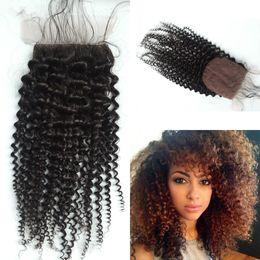 Wholesale silk top hair closure curly - Malaysian Silk Base Closure,Free 3 Part Kinky Curly Silk Base Closure Malaysian Virgin Hair,4x4 Silk Top Closure G-EASY