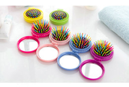 Wholesale Travel Brush Mirror - High Quality Portable Airbag Massage Mini Folding Comb With Mirror Hair Brushes For Girls Travel Accessory