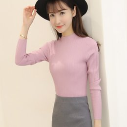 Wholesale Tight Long Sleeves Sweater - New 2016 Spring Fashion Women sweater high elastic Solid Turtleneck sweater women slim sexy tight Bottoming Knitted Pullovers