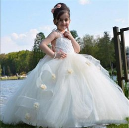 Wholesale Princess Prom Puffy Dress - Ball Gown Flower Girls Dresses For Weddings Layers Handmade Flowers Lace Girls Wedding Dress Tulle Puffy Kids Party Prom Dress