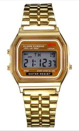 Wholesale Vintage Square Mens Watches - New A159W watches Mens Classic Stainless Steel Digital Retro Watch Vintage Gold and Silver Digital Alarm AW Sports Watches