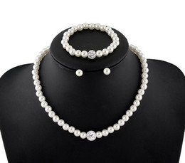 Wholesale Disco Set Prices - Cheap Price Natural White Pearl Rhinestone Disco Ball Necklaces Bracelets Earrings Jewelry Sets Women Fashion Gifts Jewelry