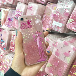 Wholesale Glitter Epoxy - Drop Glue Glitter Epoxy Pink Panther Unicorn Bling Shockproof Soft TPU Cover Case For iPhone X 6 6S 7 8 Plus