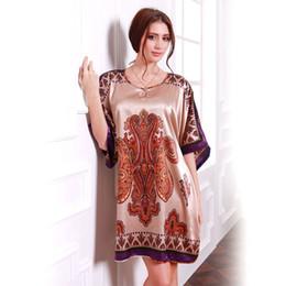 Wholesale Vintage Silk Shirt Xl - Wholesale-Hot Sale Plus Size Female Nightgowns Women Faux Silk Satin Nightgown Vintage Sleeping Gown Women's Nightwear Sleepwear