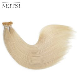 "Wholesale Wholesale Keratin Glue Sticks - Neitsi New 20"" I Tip Keratin Glue Stick Human Hair 22# 100g(pcs) lot Pre bonded Straight Brazilian Human Hair Extensions Hair"
