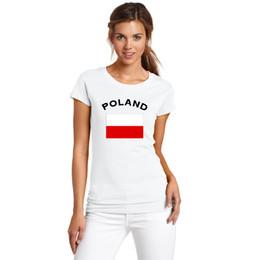 Wholesale Black Flag T Shirt - European Cup Souvenir Women T shirt POLAND Football Fans Cheer National Flag Women T-Shirts Cotton Round Collar Sports Clothing
