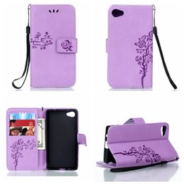 Wholesale Blossom Cards - For Sony Z5 Compact Premium Galaxy A8 A9 Wallet Leather For LG K10 K7 G4 LS770 PU Flower Blossom Strap Stylish Fashion Flip Cover Card Pouch