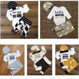 Wholesale Three Piece Suit Styles - Christmas Baby Clothes Kids Deer Print Suits Xmas Ins Romper Pants Hats Outfits Cotton Jumpsuit Caps Trousers Stripe Long Sleeve Sets B3201