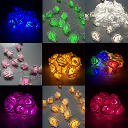 Wholesale Lighted Flowers Battery - Wholesale- 20LED Rose Flower Fairy String Lights Clear Cable Battery Powered for Wedding Bedroom Indoor Decoration --M25
