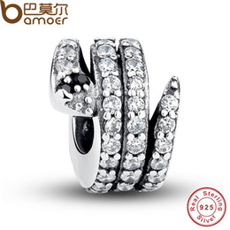 Wholesale Sparkled Clear Crystal - Wholesale-Gift 925 Sterling Silver Sparkling Snake, Clear CZ & Black Crystal Charms Fit BME Bracelet Necklace DIY Jewelry PAS115