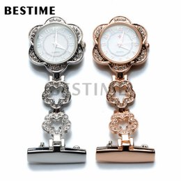 Wholesale Watches Star Shapes - Set of 2 Silver and Rose Gold Colors Star Clear Rhinestone Nurse Doctor Brooch Quartz Pocket Watch Red Cross White Dial