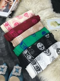 Wholesale Red Black Silk Scarf White - Sk*ull head Women Twill Silk Square Scarf Scarves Luxury Brand Handmade Hemming Headwear Shawl Wrap Gift 130*130CM