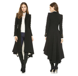 Wholesale Trench Coat Femme - Autumn Winter Brand Wraceful Woolen Overcoat Women fashion long black trench 2015 british style tuxedo manteau femme coats