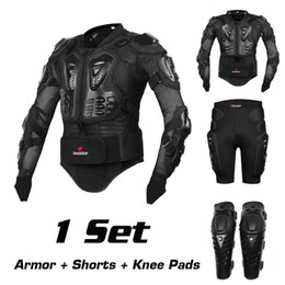 Wholesale Summer Motorcycle Pants - 2017 New Riding Jacket Racing Motorcycle Body Armor Protective Jacket+ Gears Short Pants+protective Motocycle Knee Pad 1sets