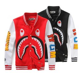 Wholesale Mouth Coat - The tide card shark mouth kanye west stamp skate board casual sweater men and women couples dress Baseball Shirt hip hop coat