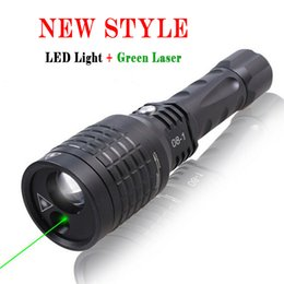 Wholesale Led Lazer Lights - Waterproof 5mw 532nm Hybrid LED Light Green Laser Pointer Green Lazer Pen Q5 LED Flashlight Zoomable Visiable Beam Star Caps Free Shipping