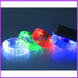 Wholesale Sound Activated Novelties - Novelty Fashion Voice control Sound Activated Sensor LED Flashing Flash Glowing Bracelets bangle Wrist Strap many color for your choose