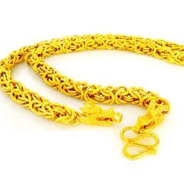 Nachahmung Gelb Gold Kette Halskette Männer Drachen Kopf Grain Line Placer Gold Thailand Kette für Herren 24 Zoll von Fabrikanten