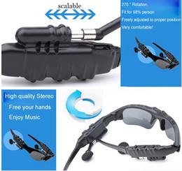 Occhiali da sole a mani libere online-Auricolari Bluetooth wireless con flip-up Cuffie Stereo MP3 Musica Occhiali Cuffie per telefono Vivavoce / Tablet PC