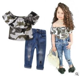 Wholesale Girls Camouflage Shorts - INS children outfits girls cotton ruffle camouflage dew shoulder T-shirt+denim pants 2pcs sets 2017 new summer kids fashion clothes C0184
