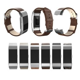 Wholesale Head Bracelet - Replacement Metal Head Grain Beltf Leather Sports Wrist Band Holder Bracelet For Fitbit Charge 2 Smart Heart Rate Wristband Newest FC0076