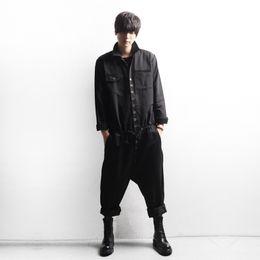 Wholesale Harem Jumpsuit Black - Wholesale-Men's Cargo Overalls Rompers Black Loose England Stylish Harem Cross Pants Brand Design Fashion Streetwear Jumpsuit Men