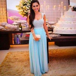 Wholesale Ladies Pink Chiffon Tops - Dubai Fashion Light Sky Blue Prom Dresses Long 2016 Beaded Top Draped Chiffon Women Formal Evening Gowns Custom Ladies Special Evening Wear