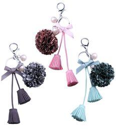 Wholesale Pearl Keyring - Romantic Pearl Flower Keychain Bag Pendant Holder Tassel Keyrings Women Bag Car Flower Charm Key Chain Ring Holder Gift D279L