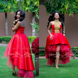 Wholesale Ankara Dresses - New Red High Low Puffy African Black Girl Prom Dresses 2016 Customize More Unique Ankara Dress Women Evening Gowns Sleeves Festa