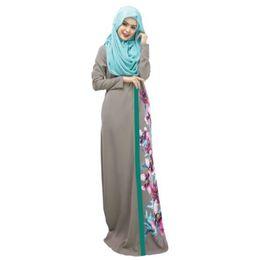 Wholesale Wholesale Islamic Dresses - Wholesale- Spring Women Lady Kaftan Abaya Jilbab Islamic Muslim Floral Long Sleeve Maxi Dress