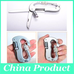 Wholesale Mountain Climbing Tools - Outdoor Mountain Climbing Safety Buckle Survival Multi-function Knife Carabiners Key Chain Aluminium Hiking Clip Lock Mountaineering Tools