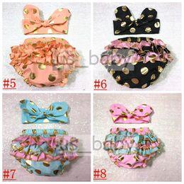Wholesale Childrens Underwear Wholesale - 2016 girls gold polka dot shorts baby bloomers + headbands 2pc set childrens ruffled shorts kids cotton underwear girls boutique short pants