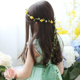 wedding hair accessories flower girl Coupons - Travel Beach Leaves Rattan Colorful Wedding Garlands Bridesmaid Bridal Headband Flower Crown Bohemia Head Flower Girl Hair Accessory