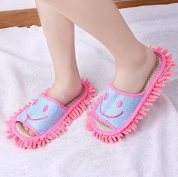 Wholesale Mop Slippers Wholesale - 4 Colors 2pcs pair Floor Cleaning Slippers Smile Face Chenille Lazy Shoes Home Floor Cleaning Mop Dust Cleaner Slippers CCA7207 50pair