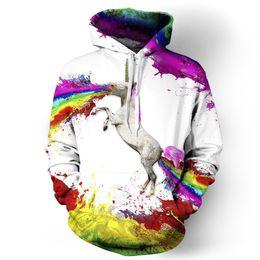 Wholesale Horse Pullover - Rainbow Horse Digital Printing Hoodies Mens Womens 3D Sweatshirt Long Sleeve Animal Graphic Tops Coat Pullover
