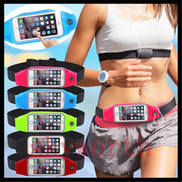 Wholesale Hanging Plastic Pockets - Sport Running Waistband For iphone 6 6S plus Waist Belt adjustable Waterproof pouch stripe Bag Gym Armband samsung s6 S7 note5 Pack Hanging
