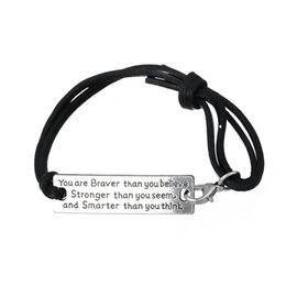Wholesale High Quality Leather Bracelets - High Quality You Are Braver Than You Believe Charm Inspirational Leather Bracelet Jewelry