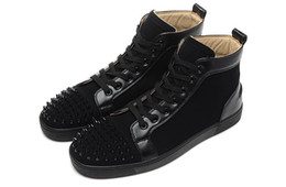 Wholesale Geometric White Womens Top - New Arrival Fashion Mens Womens Black Spikes Toe High Top Red Bottom Sneakers,Design Black Suede Casual Skateboarding Sports Shoes