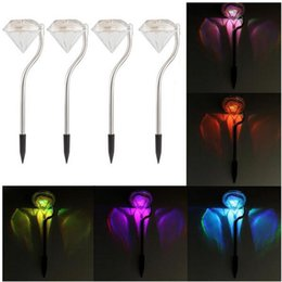 Wholesale Solar Spot Lights For Garden - RGB Solar Power Diamond Lights LED Lawn Light Waterproof Outdoor Landscape Spot Lamp For Garden Christmas Decoration sunshion charge lamp