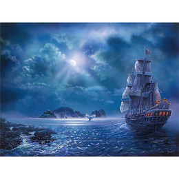 Wholesale Painting Boats - DIY Diamond Painting Embroidery 5D Boat Cross Stitch Crystal Square Home Bedroom Wall Art Decoration Decor Craft Gift