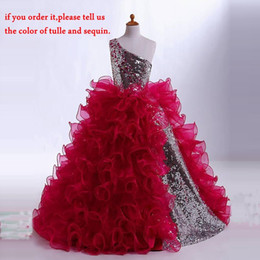 Wholesale Girl Dresses One Shoulder - Sequin Girl Pageant Dresses One-Shoulder Floor Length Sleeveless Tulle Beautiful Kids Formal Wear Popular Girl Dresses