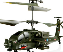 Wholesale Rc Apache - SYMA S109G Mini 3.5CH RC Helicopter AH-64 Apache Helicopter Gunships Simulation Indoor Radio Remote Control Toys for Gift b667