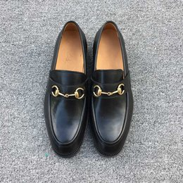Wholesale Button Wedge Shoe - luxury 2017 quality Men's shoes with shoes Black leather with detailmen casual genuine leather free shipping size38-44